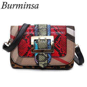 Burminsa Brand Snakeskin Shoulder Crossbody Bags Designer Handbags High Quality PU Leather Ladies Clutch Women Messenger Bags
