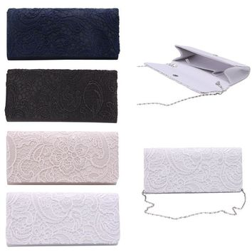 THINKTHENDO Woman Ladies Lace Floral Satin Party Evening Clutch Wedding Bridal Purse Bag