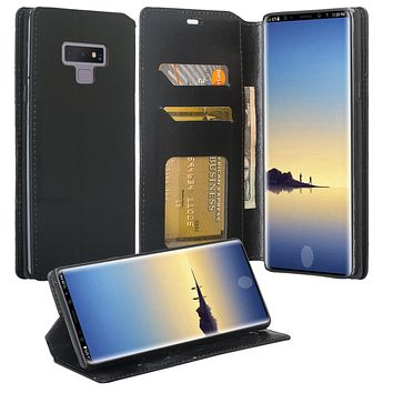 Samsung Galaxy Note 9 Case, SM-N960U, Slim Flip Folio [Kickstand] Pu Leather Wallet Case with ID & Card Slots & Pocket - Black