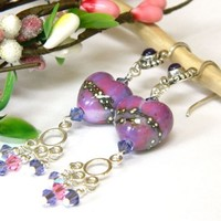 Purple Lampwork Heart Earrings Crystal Long Dangle Silver Handmade