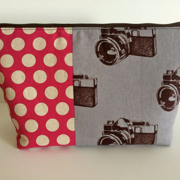 Vintage Camera Polka Dot Extra Large Cosmetic Bag Toiletry Bag Travel Bag Makeup Bag