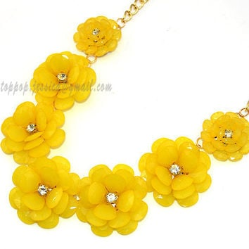 Yellow Bubble Necklace, Beaded Necklace, Statement Flower Necklace, Gem Resin Crystal Rhinestone Wedding Party Holiday Necklace(TP-N-0077E)