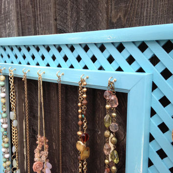 Shabby Chic Teal Blue Wood Jewelry Display