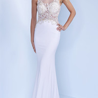 Floor Length Embroidered Illusion Back Prom Dress