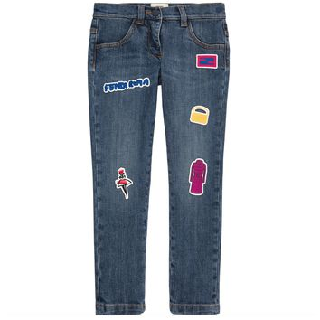 Fendi Girls Patched 'Monster' Jeans