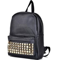 BLACK PU Studded Backpack School Bag Classic Stylish Look for School -JAM Closet:Amazon:Everything Else