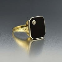Art Deco Onyx and Diamond Ring Ostby Barton