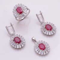 Solid 925 Sterling Silver Natural Ruby Cubic Zirconia CZ Gemstone Ring Pendant Earring Women Engagement Wedding Bridle Jewelry Set Prong Set