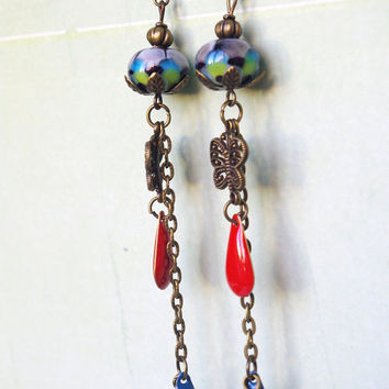 long Peacock Lampwork earrings bright jewelry enamel beads