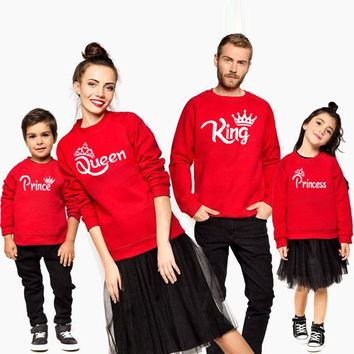 matching family outfit mommy and me mother daughter daddy son baby Girls Boys Sweatshirt for King Queen Printed autumn t shirt