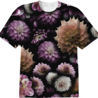 Cream and Lavender Dahlias Collage T-Shirt created by Blooming Vine Design | Print All Over Me