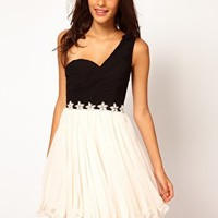 Opulence England One Shoulder Chiffon Pearl Flower Dress at asos.com