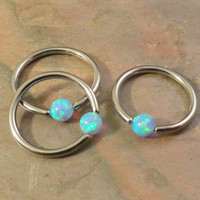 18 Gauge Light Blue Fire Opal CBR Hoop Cartilage Hoop Tragus Helix Rook