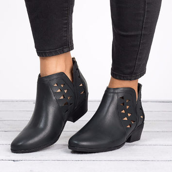 Cut Out Ankle Booties - Black