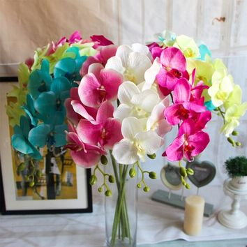 1pc 7 flower heads Home fashion craft decoration Artificial Butterfly Orchid Silk Flower Bouquet Phalaenopsis Wedding decal