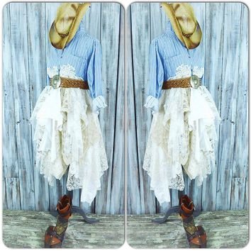 Country chic dress, Romantic Fall winter boho clothing, Rustic Coat dress, Blue white stripe mans shirt dress, Street, True rebel clothing