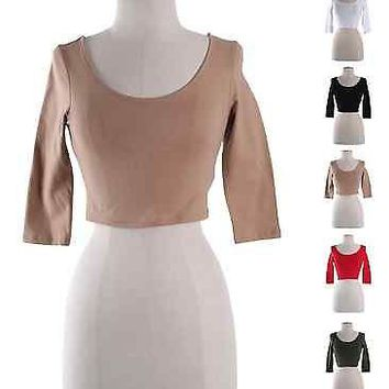 Solid Plain Scoop Neck 3/4 Sleeve Basic Cropped Belly Tee Shirts Top Deep Back