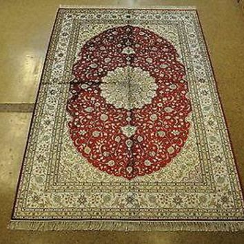 Handmade Rug 6' x 9' Silk Tomato Red Ivory Tabriz Crafted Of Silk And Cotton