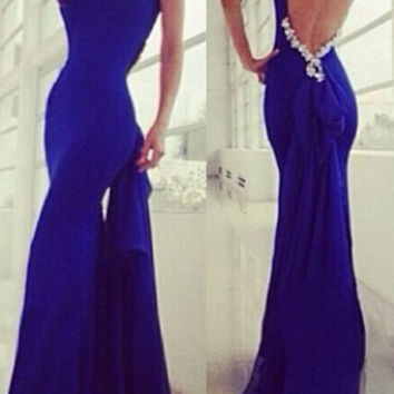 Blue Sleeveless Backless Mermaid Dress