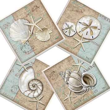 Beach Coasters, ceramic coasters, seaside coasters, Seashell coasters, starfish coasters, conch shell , housewarming gift, beach house decor