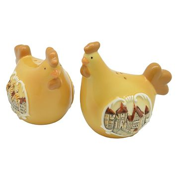 Collectible European Themed Ceramic Chickens Salt & Pepper Set
