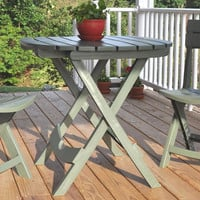 Sage Green Folding Patio Dining Cafe Table in Lightweight Sturdy Resin