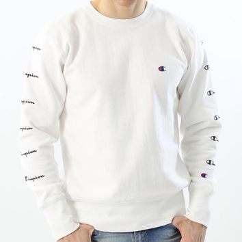 Champion autumn season tide brand round neck couple loose tide sweater white