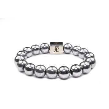 12mm Genuine Insignia Mens Stretch Bracelet - Silver Hematite
