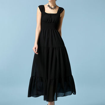 Sleeveless Square Neck Ruffled Sheath A-Line Chiffon Maxi Dress