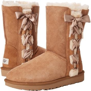 UGG Side Bow Bandage Leather Shoes Boots Winter In Tube Boots Shoes-1