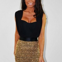 Venus LUXE Gold Padded Sequin & Mesh Mini Dress | Pink Boutique