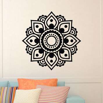 Mandala Wall Decal Yoga Vinyl Sticker Lotus Flower Namaste Mandala Wall Decals Murals Bedroom Dorm Yoga Studio Om Wall Art Home Decor Z836
