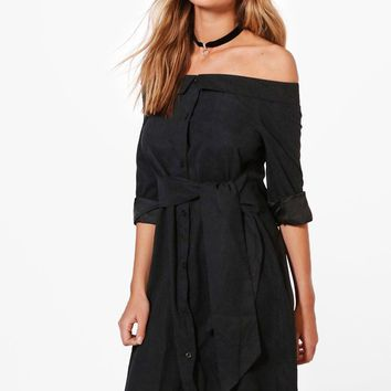 Evie Off The Shoulder Tie Front Shirt Dress | Boohoo