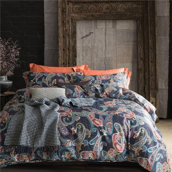 Il 60S egyptian cotton paisley ethnic Bedding set doona/duvet cover flat sheet pillow case king queen size bed linen set