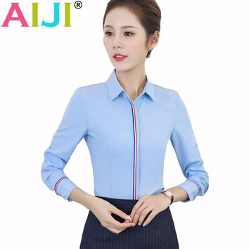 spring summer women elegant office business work style blue white blouse turn-down collar long sleeve button silm shirts tops