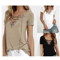 Summer Sexy V-neck Tops T-shirts [7322490241]