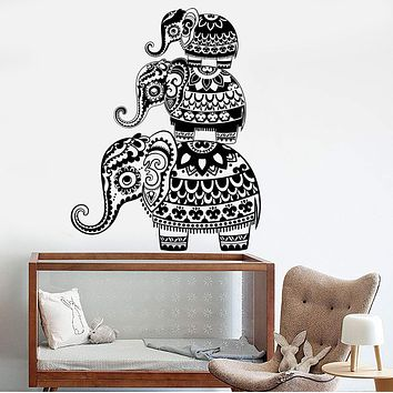 Vinyl Wall Decal Three Indian Elephant Family Nursery Hinduism Bedroom Design Stickers Unique Gift (739ig)