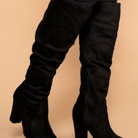 Cassia Black Knee High Boots