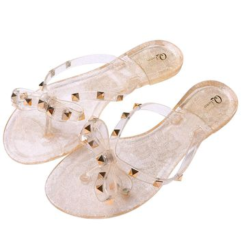 Qilunn Womens Rivets Bowtie Flip Flops Jelly Thong Sandal Rubber Flat Summer Beach Rain Shoes
