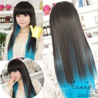 DAYISS® Black+Blue Color Fashion Womens Lady Sexy Straight Wigs Style Cosplay Long Hair
