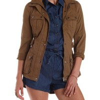 Lt Brown Hooded & Belted Anorak Jacket by Charlotte Russe