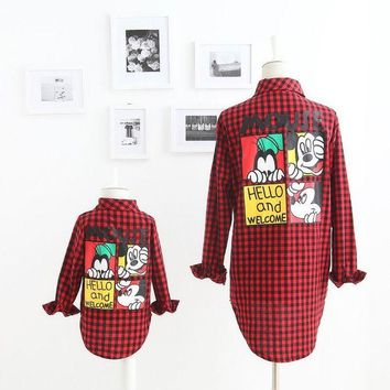 LMFUNT 2016 Autumn New Girl Shirts Family Matching Outfits Mouse Cartoon Red Plaid Long Sleeve Fashion Shirts 2-7T M05