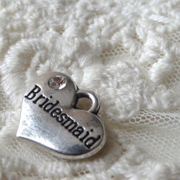 2- Bridesmaids Heart Pendants Wedding Day Best Friends Wedding Day Bridesmaid Silver Heart Double Sided 3D BuyDiy Jewelry Making Supplies