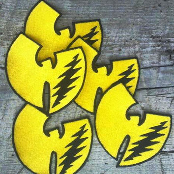 Grateful Dead, Wu Tang Clan, 13 point lightning bolt Wu Bird embroidered sew on patch