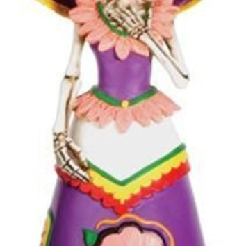 Senorita Wearing Purple Dress Statue, Day of the Dead Skull - T76770