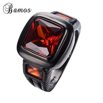 Square Red Zircon Stone Ring Classic Black Gold Filled Finger Rings For Female Male Wedding Engagement Christmas Gift RB0462
