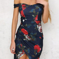 Navy Floral Print Off Shoulder Wrap Back Zip Dress