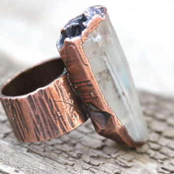 Raw Crystal Ring Quartz Crystal Ring Mineral Jewelry Electroformed Copper Jewelry Big Ring Big Crystal Ring Raw Crystal Jewelry Mineral Ring
