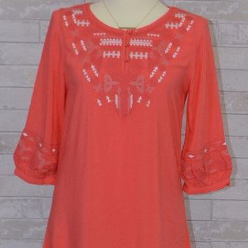 Monoreno Henley Tunic Blouse Top -Embroidered- Salmon