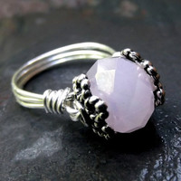 Pastel Pink Ring  Silver Wire Wrapped Ring by SherryKayDesigns
